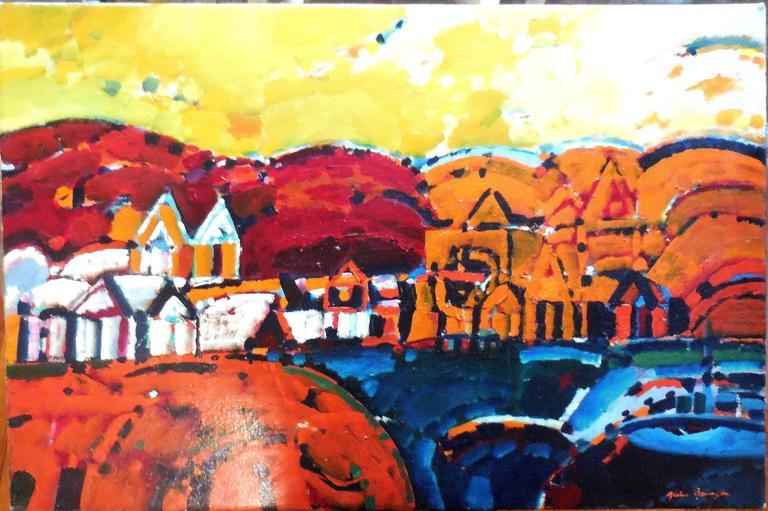 Paisaje de la Rioja Argentinian Modernist Concretist Cubist Oil Painting - Brown Landscape Painting by Julio Barragan