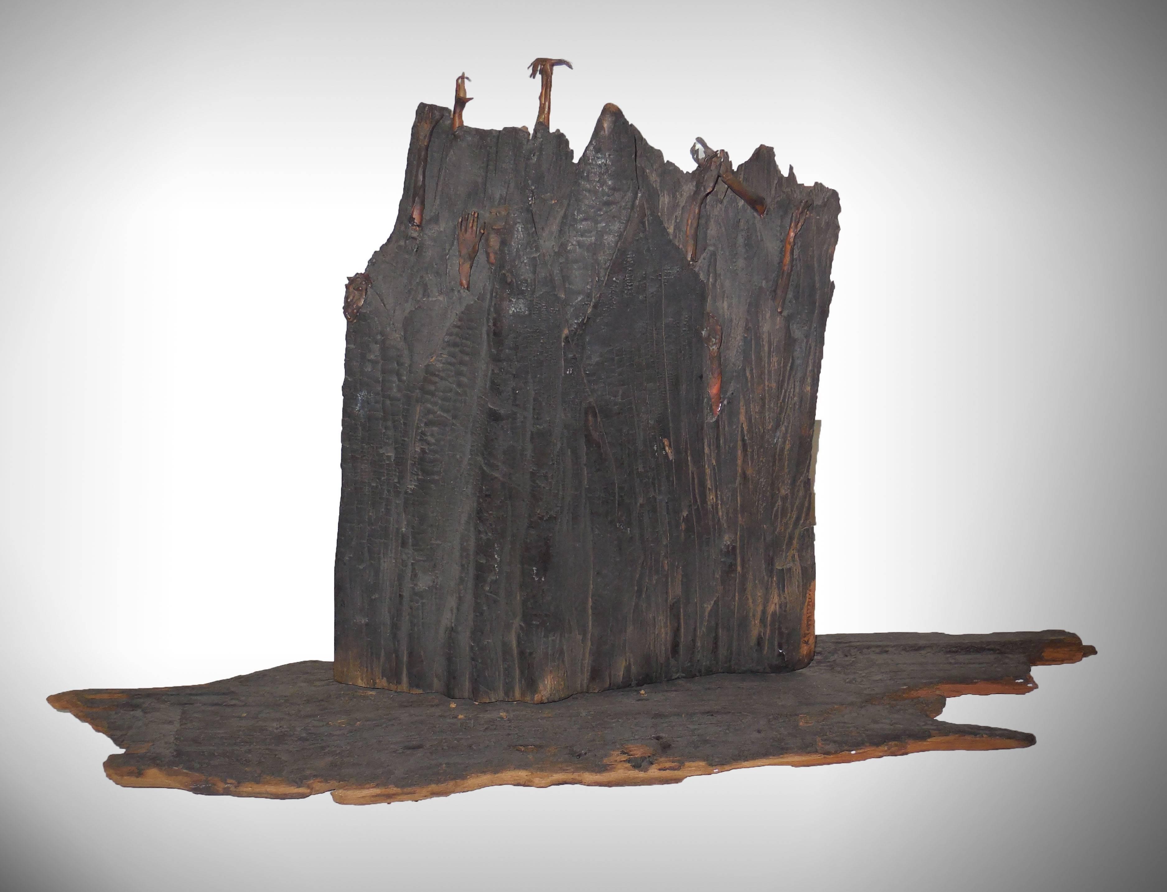 Holocaust Memorial Polish Sculpture Burnt Wood Metal Judaica Jewish Memorial Art