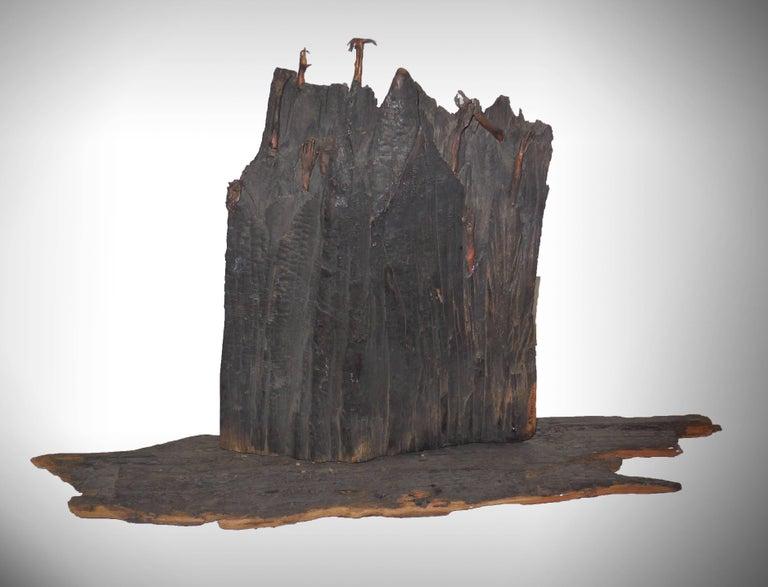 Lubomir Tomaszewski Figurative Sculpture - Holocaust Memorial Polish Sculpture Burnt Wood Metal Judaica Jewish Memorial Art