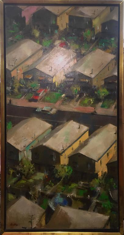 Large Modernist Oill Painting Urban Pattern For Sale 1