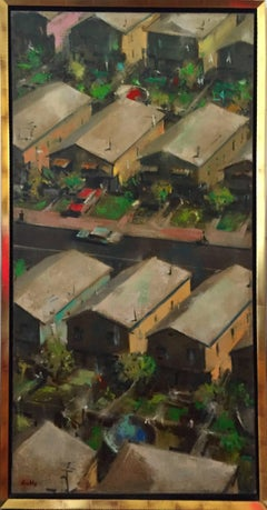 Large Modernist Oill Painting Urban Pattern