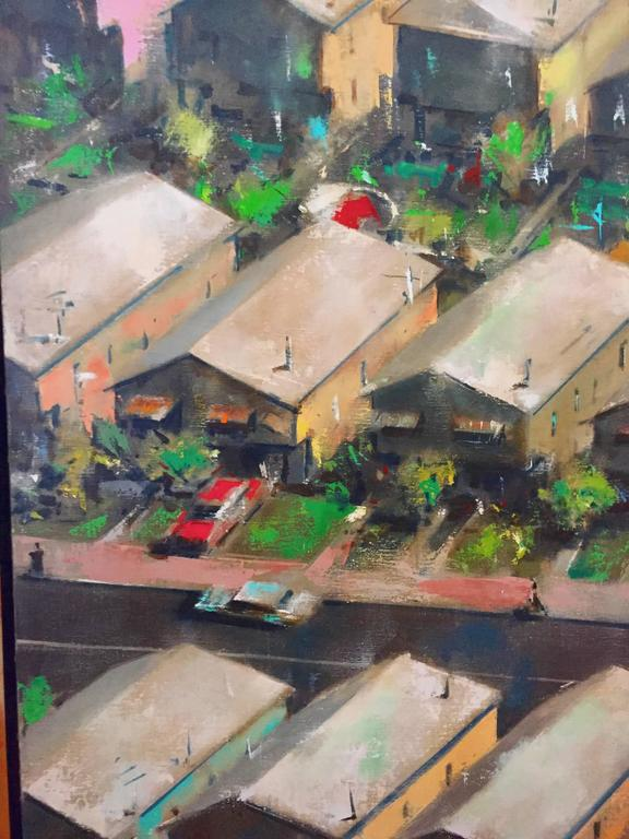 Large Modernist Oill Painting Urban Pattern For Sale 2