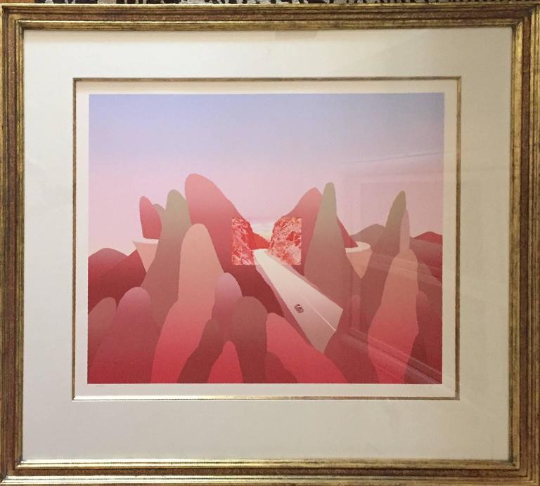 Mountains, Large Pencil Signed Modernist Silkscreen Belgian Illustrator