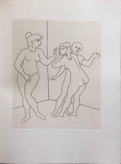 Female Nude Erotic Art Deco Etching from Le Satyricon