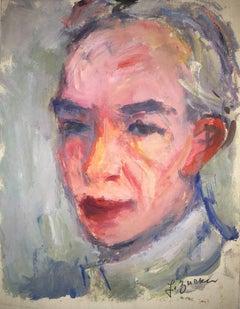 Rare Self Portrait Oil Painting Polish, Ecole D'Paris, WPA, Bezalel School