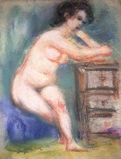 Female Nude, Pastel Drawing After Renoir Polish Ecole D'Paris WPA Bezalel Artist