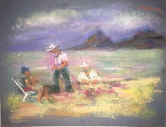 Beach Scene Pastel Drawing Polish Ecole D'Paris, WPA, Bezalel Artist