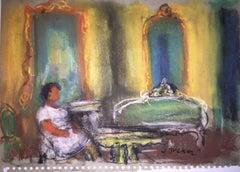 Pastel Painting Woman in Interior Polish Ecole D'Paris, WPA, Bezalel Artist