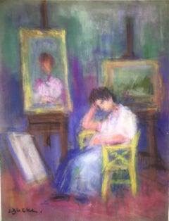 Woman Artist in Studio Pastel Drawing Polish Ecole D'Paris, WPA, Bezalel Artist