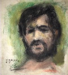 Portrait Drawing Bearded Man Ecole D'Paris, WPA, Bezalel Artist