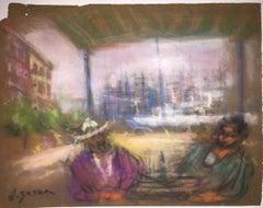 Mexican Siesta Pastel Drawing Ecole D'Paris, WPA, Bezalel Artist