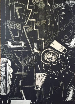 Large Abstract Woodblock Print American Woman Modernist