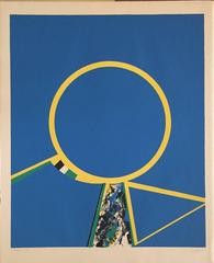 Budd Hopkins - Abstract circles in Yellow and Blue