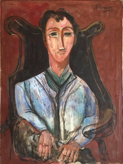 Seated Man Portrait, Large Modernist Oil Painting WPA Artist