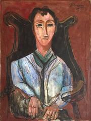 Seated Man Portrait, Large Modernist Oil Painting WPA Artist