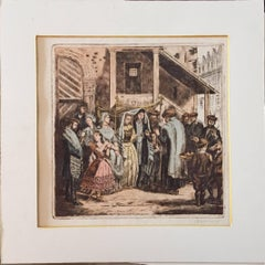 Rare Judaica Wedding Scene Hand Colored Etching after Oppenheim