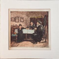 Rare Judaica Cheder Test Hand Colored Etching after Kaufmann