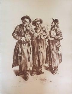 """""""Three Klezmer Musicians"""" Judaica Jewish Lithograph Signed Itshak Holtz"""
