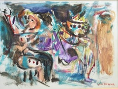 Rare Israeli Modernist Figurative Abstract Gouache Painting