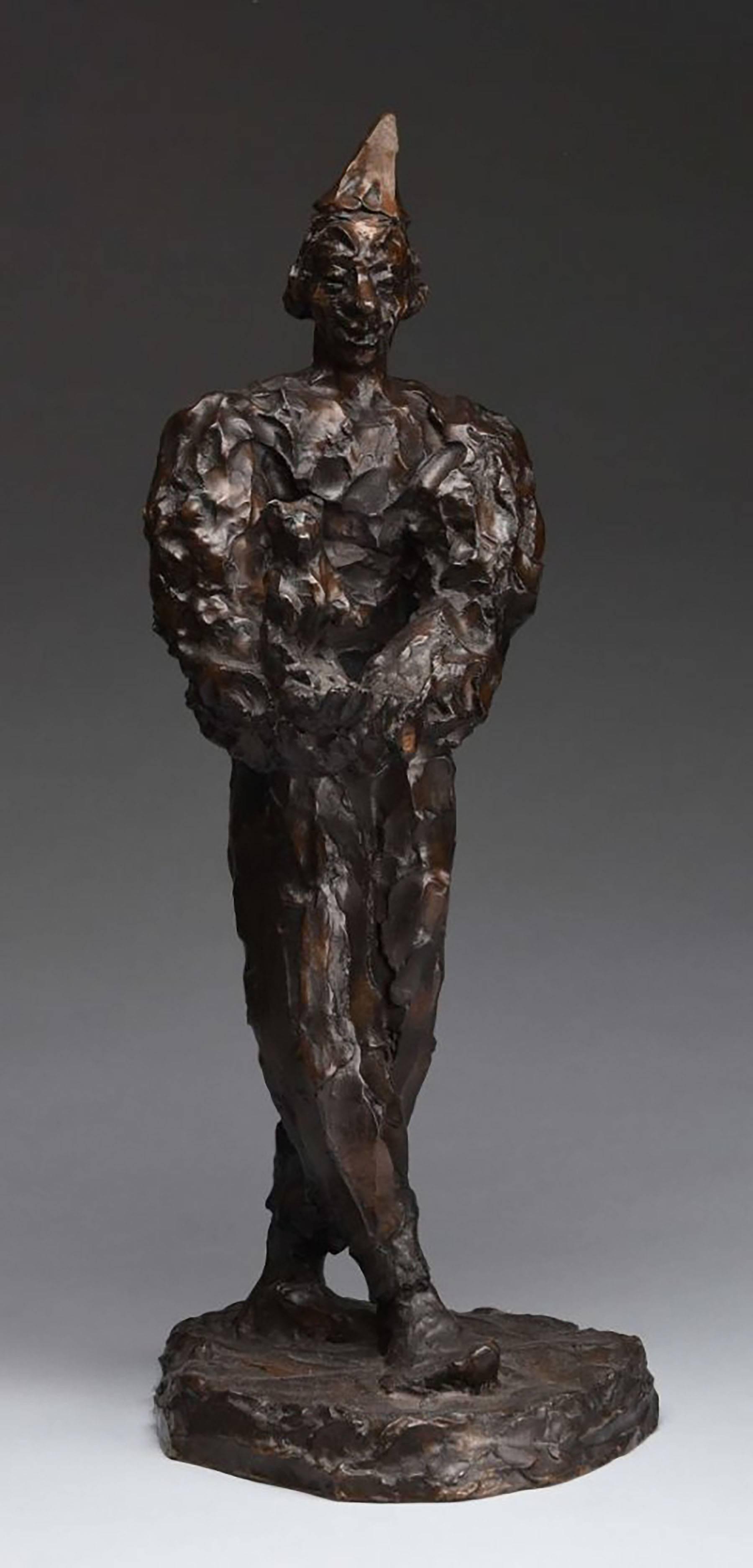Clown Holding Teddy Bear, Unique Bronze Expressionist Sculpture