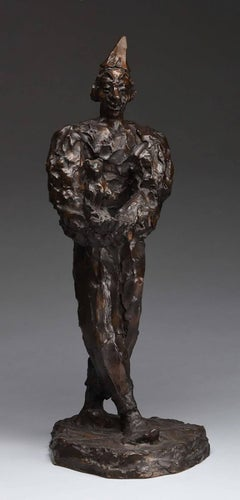Clown Holding Teddy Bear, Unique Bronze Expressionist Sculpture