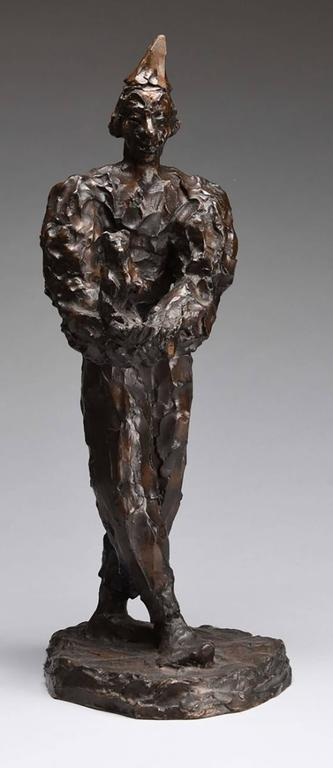 Clown Holding Teddy Bear, Unique Bronze Expressionist Sculpture - Gold Figurative Sculpture by Agnes Yarnall