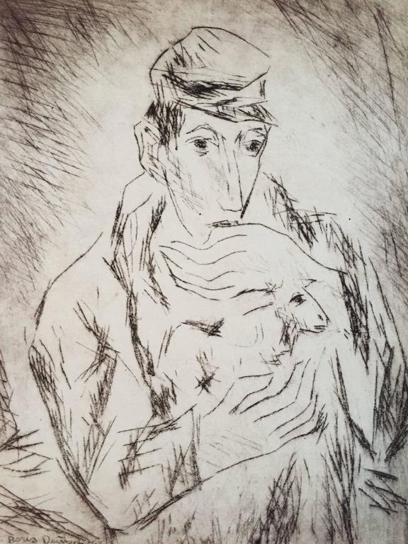 Shtetl Boy with Sheep
