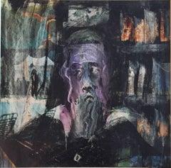Modernist Rabbi Mixed Media Painting on Newsprint Spertus Museum Deaccession