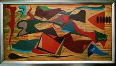 Rare Abstract Painting African American Outside Artist