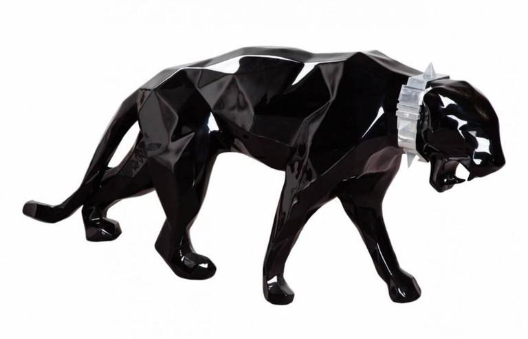 richard orlinski black glossy panther with aluminum collar sculpture for sale at 1stdibs. Black Bedroom Furniture Sets. Home Design Ideas