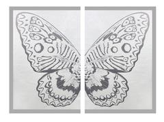Diptych Butterfly II Pearl on Silver