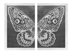 Diptych Butterfly II Black on Silver