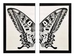Diptych Butterfly, Black on Silver
