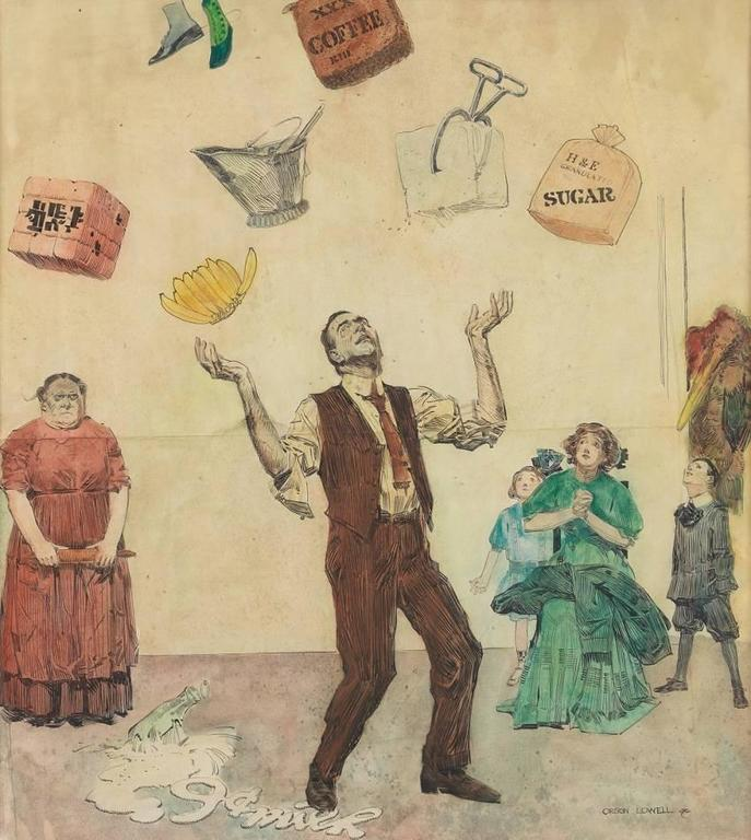 How to Juggle Your Expenses - Painting by Orson Lowell