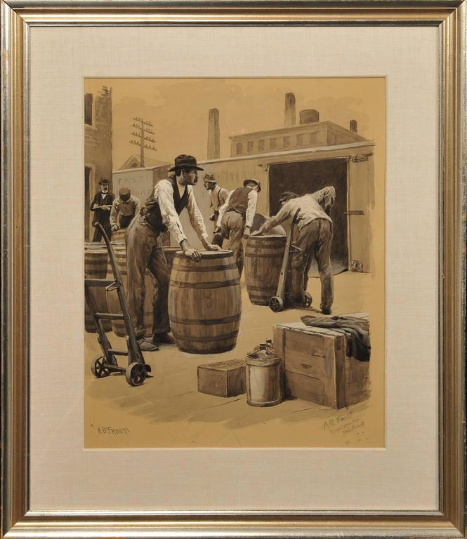 Workers Loading Freight Train - Painting by Arthur Burdett Frost