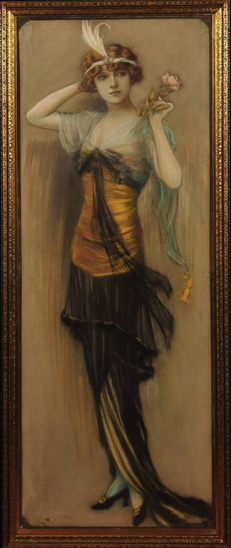 Charles Allan Gilbert Portrait Painting - Woman With Rose