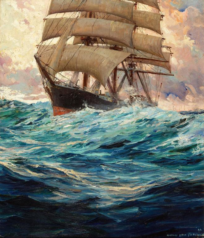 Anton Otto Fischer Clipper Ship At Sea Painting For