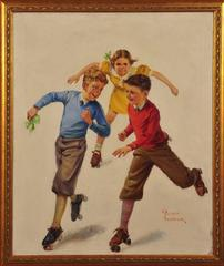 Three Children Skating