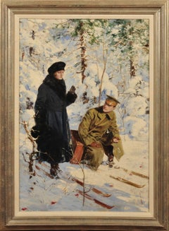 Woman and Soldier on Skis