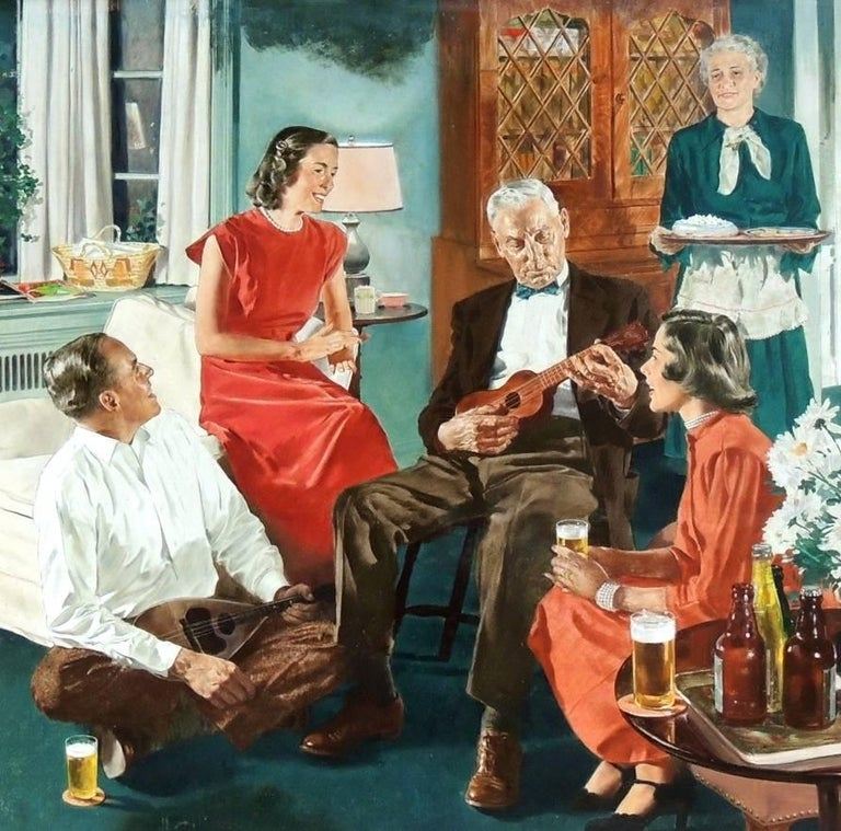 Spencer Douglass Crockwell Figurative Painting - The Family Gathering, Beer Belongs Advertisment