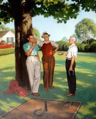 Three Men Playing Horseshoes