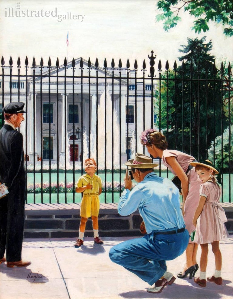 George Hughes Figurative Painting - Future President, Saturday Evening Post Cover