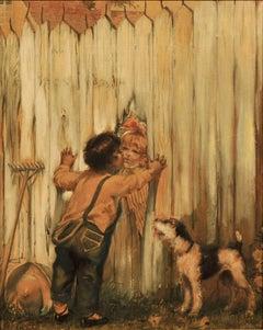 Boy Kissing Girl Through Fence
