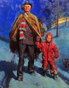 Man and Grandson Walking in the Snow