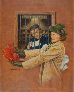 Woman Receiving Box of Chocolates at the Post Office, Liberty Magazine
