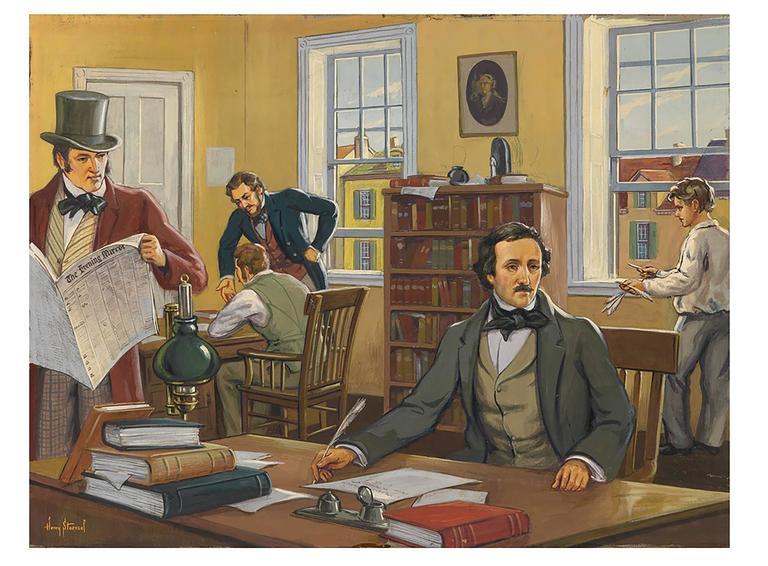 Henry Kurt Stoessel Mixed Media Art - Edgar Allan Poe