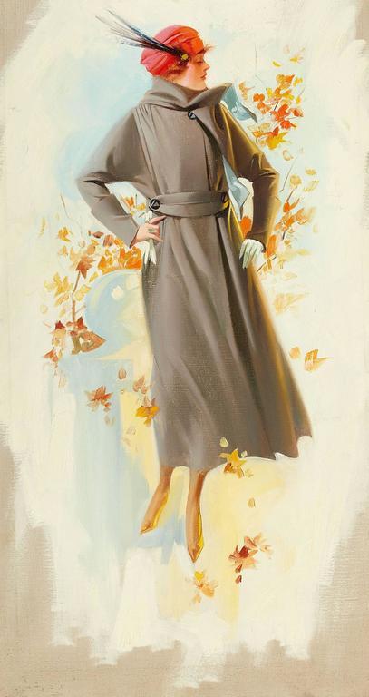 Unknown Figurative Painting - Fall Fashion Illustration
