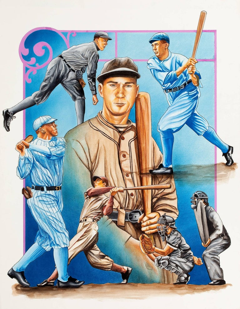 Unknown Figurative Painting - Group of Four: Baseball Themed Illustrations