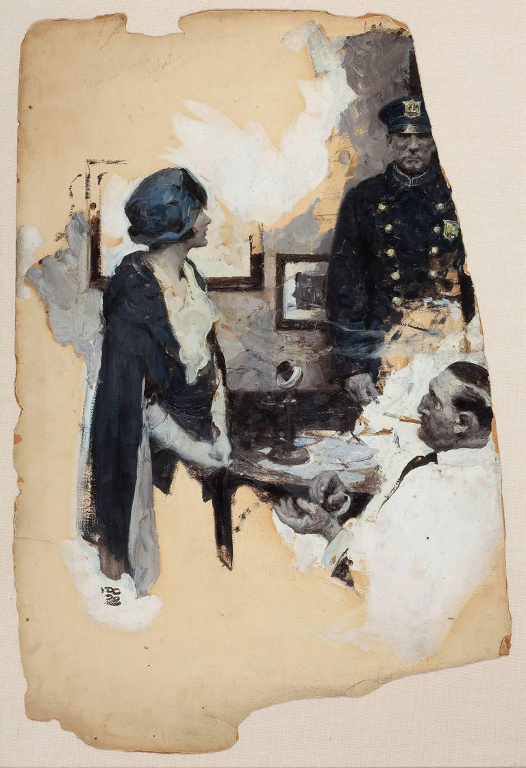 Dean Cornwell Figurative Painting - At the Precinct, Story Illustration