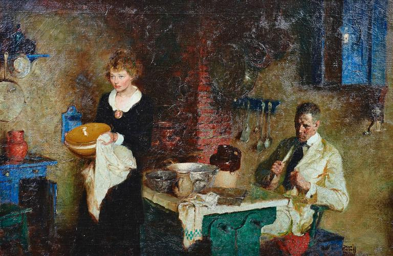 Dean Cornwell Figurative Painting - Stern News After Dinner